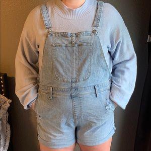lightwash denim overall shorts